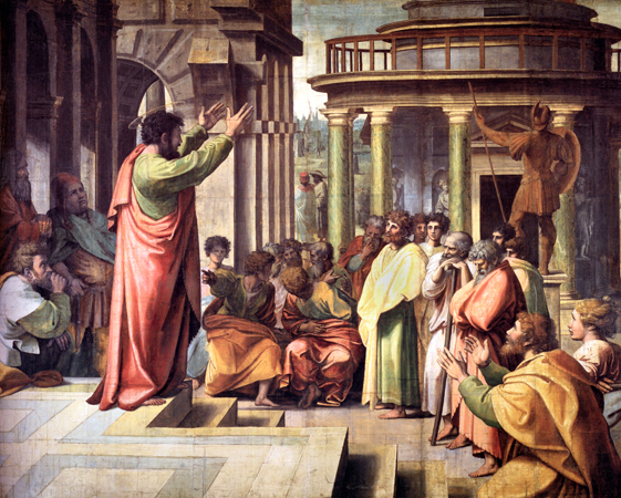 St. Paul preaching in Athens by Raphael (Restored Traditions)
