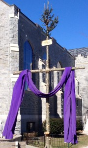 Bethlehem to Calvary: A Christmas tree turned into a cross, on display outside of St. Peter Church in Merchantville, NJ