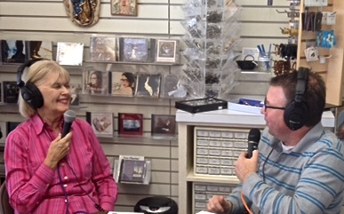 Nancy Ward interviewed by Dave Palmer on GRN KATH 910AM on Sharing Your Faith Story in the Year of Mercy (photo by Phi Ward)